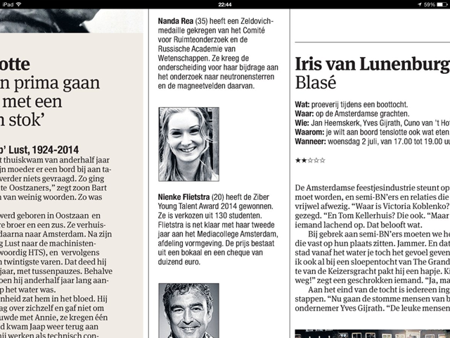 Ziber Young Talent 2104 in Het Parool! Nienke Flietstra gefeliciteerd.